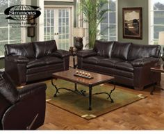 This rich brown sofa/loveseat set is perfect for any man cave - comfy and easy to clean! ($598)