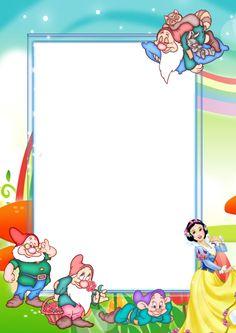 Transparent Kids PNG Photo Frame with Snow-White and Seven Dwarfs Disney Frames, Foto Frame, Doodle Frames, Disney Printables, Baby Frame, Cute Frames, Birthday Frames, Png Photo, Frame Clipart