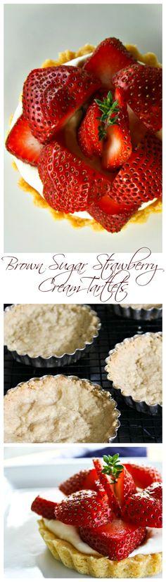 Brown Sugar Strawberries and Cream Tartlets