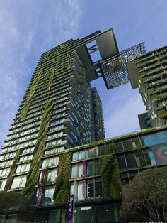 the green wall at One Central Park ~ Sydney Australia by Jean Nouvel and Patrick Blanc ~ is the highest of its kind in the Southern Hemisphere