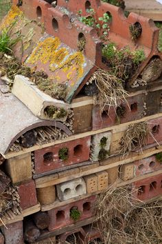 "Insectenhotel -- a little ""junky"" looking, but great idea and use of materials instead of tossing them. Garden Bugs, Garden Insects, Garden Animals, Garden Trees, Garden Art, Garden Design, Permaculture, Bug Hotel, Garden Spaces"