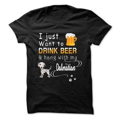 Drink Beer With Dalmatian T Shirts, Hoodies. Check price ==► https://www.sunfrog.com/Pets/Drink-Beer-With-Dalmatian.html?41382