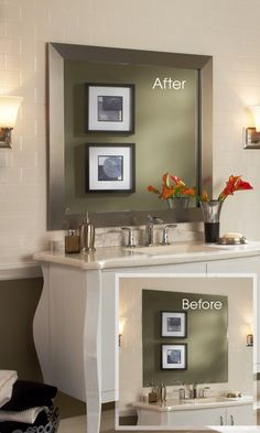 A MirrorMate frame added to the plate glass mirror transforms the look of bathroom.