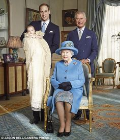 Four generations: The current monarch, surrounded by Britain's three future figureheads October 2013