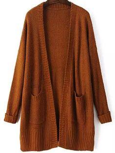 Cardigan en mohair décontracté avec poches -kaki -French SheIn(Sheinside)