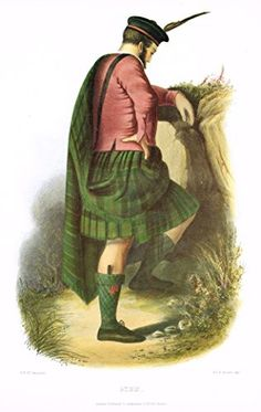 Colored engraving which is a reproduction of THE CLANS AND TARTANS OF SCOTLAND by R.R. McIan, originally introduced in 1845. It was published in London in 1988 by Bracken Books. WORLDWIDE SHIPPING WHE
