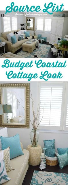 This Light and Airy Coastal Cottage is a Small Space, Dressed on a Small Budget, in Shades of White, Aqua and Sand - Decor Breakdown and Source List Features Tons of Great HomeGoods Home Decor Finds! #homegoodshappy sponsored pin.