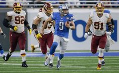 Redskins vs. Lions;   -   October 23, 2016  -  20-17, Lions  -  Detroit Lions quarterback Matthew Stafford (9) breaks through the Washington Redskins defense during the second half of an NFL football game, Sunday, Oct. 23, 2016 in Detroit.