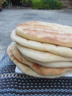 Yummy Pita bread recipe with a Hummus recipe below it.  I would use whole wheat flour.