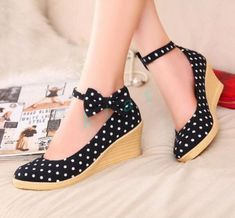 Womens Ankle Strap Mary Janes Sweet Dot Wedge high Heels Bowknot Shoes Pumps in Clothing, Shoes & Accessories, Women's Shoes, Heels | eBay