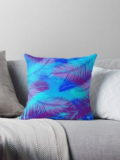 """Sea of Love"" throw pillow by Scar Design. #Palmtreeleaves #throwpillow #summer #design #summerpillow #summerhouse #summerhomedecor #homedecor #homegifts #lgbt #gay #gifts #giftsforhim #giftsforher #palmleaf #pillow #modern"