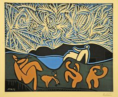 Picasso - Bacchanal with Kid and Specator, 1959, Linoleum cut