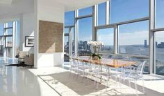 Modern All Angle Panorama Interior Design By Jean Nouvel luxurious penthouse interior arrangement – Home Office Interior Design Ideas New York Penthouse, Duplex New York, Penthouse For Sale, Luxury Penthouse, Penthouse Apartment, Dining Room Design, Dining Room Furniture, Garden Furniture, Modern Interior Design