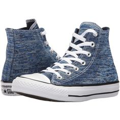 Converse Chuck Taylor All Star - Hi (Midnight Navy/Barely Volt)... ($49) ❤ liked on Polyvore featuring shoes, sneakers, canvas shoes, high top canvas sneakers, navy blue sneakers, converse shoes and navy sneakers