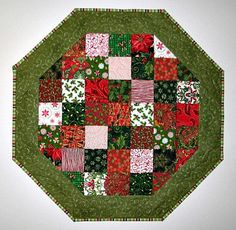 Quilted Table Topper , Octagon Patchwork Table Mat , Scrappy Christmas Candle Mat , Red and Green, Quiltsy Handmade by VillageQuilts on Etsy