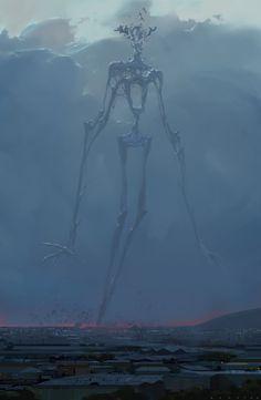 Alex Konstad Digital Painting Hell of a Story The Appearance - Fantasy Dark Fantasy Art, Fantasy Kunst, Fantasy Artwork, Monster Art, Fantasy Monster, Monster Concept Art, Arte Horror, Horror Art, Art Sinistre