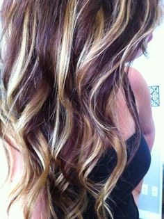 Image result for burgundy hair with blonde highlights