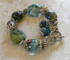 Blue Ridge Handmade Beaded Bracelet Bali Sterling Silver Kazuri Lampwork Beads
