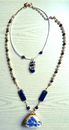 vintage pendant china with sodalite beads and vintage necklace