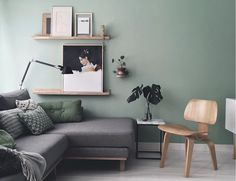The inspiring home and studio of Maaike Koster (my scandinavian home) - I'm so excited to share the beautiful home and studio of Dutch graphic designer & interior design - Living Room Green, Home Living Room, Living Room Designs, Living Room Ideas With Grey Couch, Living Room Ideas Uk, Apartment Living, Room Color Schemes, Room Colors, Paint Colors