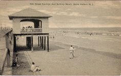 Cape May County NJ Picture Postcards and Images Page 50 Avalon Beach, Beach Boardwalk, History Projects, Picture Postcards, Cape May, My Happy Place, Vacation Spots, Pavilion, Old Photos
