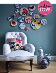 Love the embroidery framed fabrics! www.adornhomewares.com.au