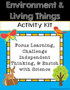 **Aligns to 3rd Grade NGSS**Environment and Living Things Activity Kit is a fun, interactive way for students to learn about science! Make learning without a textbook motivating and exciting for students!Included in this kit you will find:-Environment and Living Things Kit Menu (keeps students independent learning focused with 6 activity choices)-Fossils Slideshow Slideshow (planning card and directions card)-How Animals Live Pamphlet (copy back to back to create pamphlet for recording…