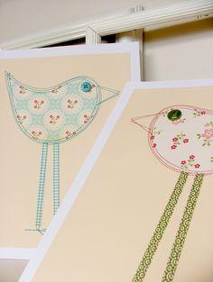 Bird pair, 8 x 10 ready to frame. $35.00, via Etsy.