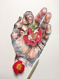 hand and flowers art