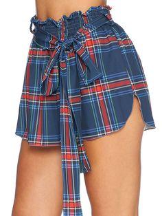 Tartan Navy Flouncy Shorts - CAPPED PRESALE (AU $50AUD) by Black Milk Clothing