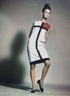 1965-66 - Jean Shrimpton wearing Yves Saint Laurent 'Mondrian' dress in Harper's Bazaar September