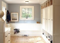 love the closed-in cubbies for coats & long bench.
