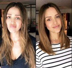 Jessica Alba is air inspiration here. She chopped her long mane to reveal clean, layered hair. New Short Hairstyles, Trendy Haircuts, Girl Haircuts, New Haircuts, Girl Hairstyles, Layered Haircuts, Celebrity Hairstyles, Medium Hair Cuts, Medium Hair Styles