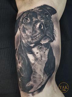 Dog Tattoos, Cute Tattoos, Beautiful Tattoos, Body Art Tattoos, Girl Tattoos, Vintage Tattoo Design, Sketch Tattoo Design, Dog Portrait Tattoo, Cute Pitbulls