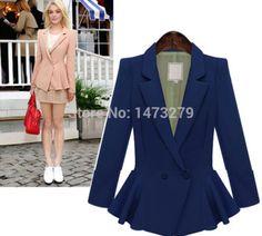 Peplum blazer, moda solid ladies coat