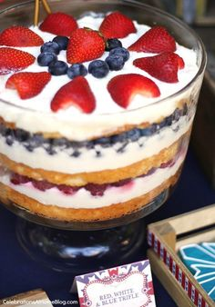 Red, White and Blue Trifle that can be made with angel food cake from ...