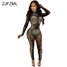 Sparkly Rhinestones Sexy Party Jumpsuit Women Mesh Patchwork See Through  Bodycon Overall Elegant Long Sleeve Plus Size Romper 78a0bd1d2
