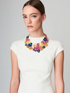 Large Painted Floral Necklace - Fashion Jewelry - Oscar de la Renta