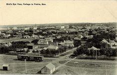Postcard 816: [Canadian Railway News Service], Bird's eye view, Portage La Prairie, Man. ([ca. 1920]) My Town, Birds Eye View, Service, East Coast, Man, Paris Skyline, Postcards, Cities, Canada