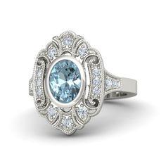 Oval Aquamarine 18K White Gold Ring with Diamond | Arya Ring | Gemvara