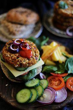 Indian Styled Spicy Vegan Sweet Potato, Oats and Chickpeas Burger Recipe | Simple Vegan Burger Recipe