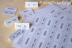 Proste wyrazy z podziałem na sylaby otwarte do nauki czytania metodą sylabową // Simple words divided into syllables open for reading by syllables [in Polish] Worksheets For Kids, Printable Worksheets, Cursive Letters, Coloring Pages For Kids, Homeschool, Education, Dative Case, Speech Language Therapy, Diet