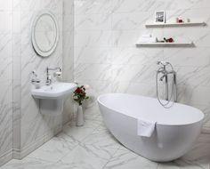 Rektifikovaný obklad Calacatta 30x90 cm | Obklady a dlažba, série | SIKO KOUPELNY Calacatta, Bathtub, Bathroom, Design, Standing Bath, Washroom, Bathtubs, Bath Tube, Full Bath