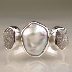 Baroque Pearl and Rough Diamond Ring Three Stone by artifactum