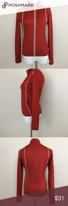 """Patagonia WaterGirl women's jacket, pockets, small Patagonia Water Girl women's jacket with zipped pockets. Great for spring and cool summer. Color is red to burnt orange.  Fabric is 88% polyester and 12% elastane. Machine washable.  Size Small Armpit to armpit laid flat 18"""" Length 22.5"""" Approximate only.  Excellent condition.  No stains or holes.  Freshly.  Stored in a smoke and pet free household.  Please see all pictures in details or ask any questions to avoid return.  Check out my store…"""