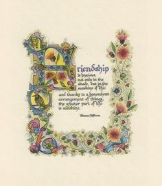 Friendship Illuminated Calligraphy Laminated Print by angelworx