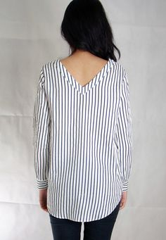Perfect gift for stripes fans. Tops – Gwen Relaxed Top – a unique product by corigons via en.DaWanda.com #white #blue