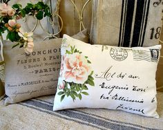 From Italy with love pillow cushion cover by RosiesArmoire on Etsy, $53.00