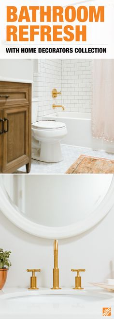 Style blogger Caitlin Kruse chose a simple ivory vanity mirror and neutral tiles in her bathroom refresh, giving her freedom to mix and match linen and metal accessories for a modern feel. Check out how you can include furniture and decor from the Home Decorators Collection in your bathroom update.