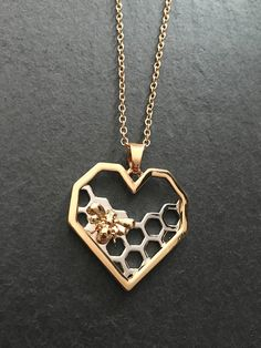 Bee necklace gold heart with silver honeycomb and gold bee